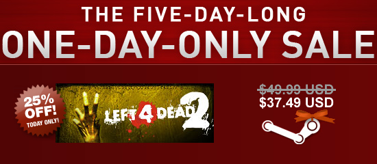 Left 4 Dead 2: 25% Off! Today Only!